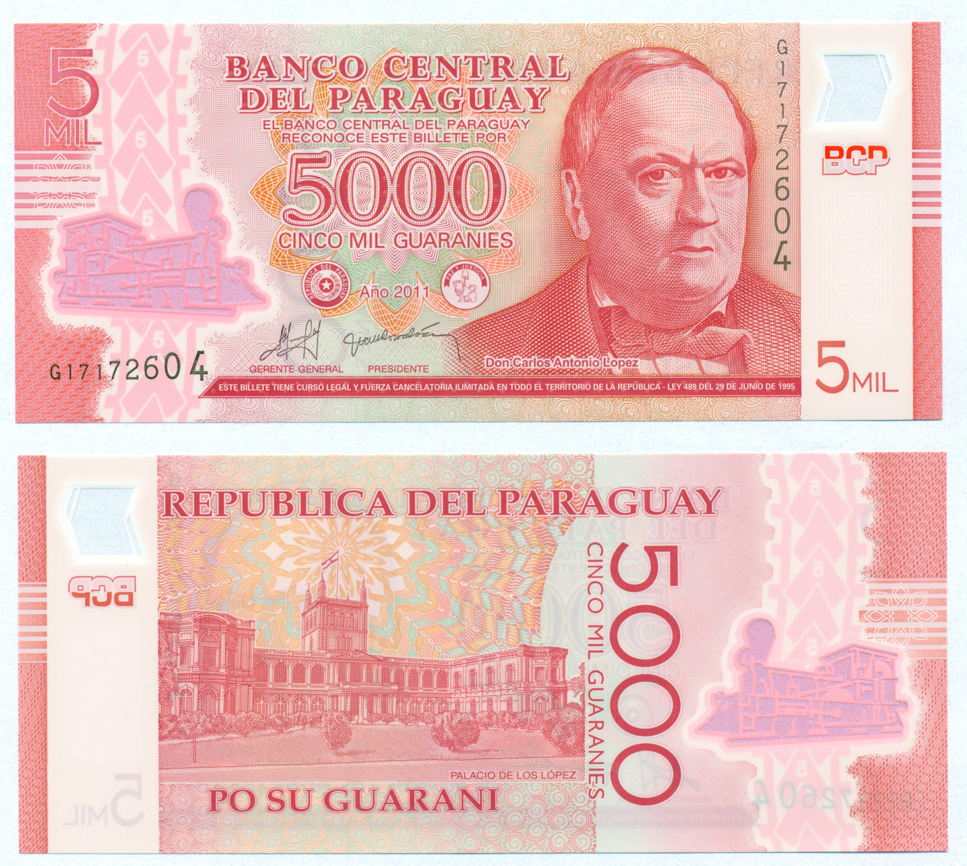 Paraguay 2011 Polymer Note UNC 5000 Guaranies